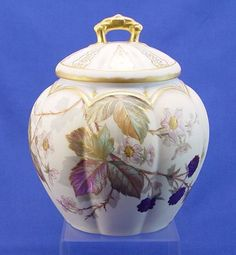 382: CA. 1890 FRENCH LIMOGES BISCUIT JAR Blackberry : Lot 382