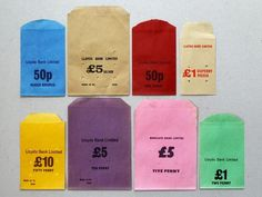 Present & Correct, blue, yellow, purple, pink, green, Vintage Money Bags, vintage lettering