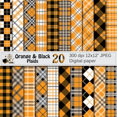 Black and Orange Plaid Digital Paper Set, Buffalo Plaids Lumberjack Digital papers, Black Orange Geometric Scrapbook paper, Instant Download by VRDigitalDesign on Etsy