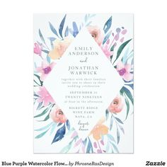 Shop Blue Purple Watercolor Flowers Wedding Invitation created by PhrosneRasDesign. Pastel Wedding Invitations, Wedding Invitation Design, Pink Purple Wedding, Wedding Cards, Floral Watercolor, Wedding Flowers, Painted Flowers, Vintage Colors, Weddings