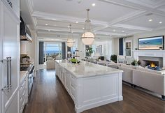 Ultimate California Beach House with Coastal Interiors...statuario extra marble and the hardware