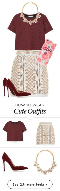 """Cute business outfit"" by leslieann1019 on Polyvore featuring Balmain, MANGO, Forever 21, Kate Spade and Gianvito Rossi"
