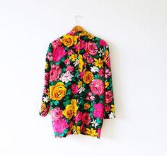 Bright Pop Floral Vintage Silk Blazer by thehappyforest