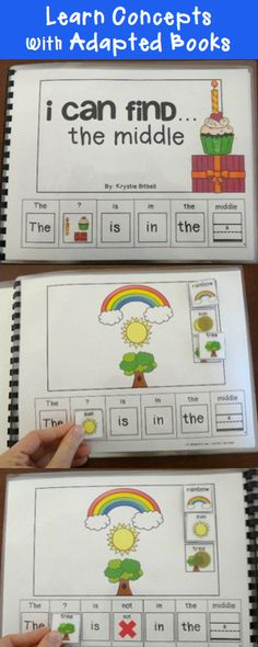 Teach concepts with adapted books.  Fun, interactive way to teach what is, what is not the middle.