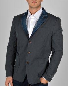 Three button peak lapel patch pocket blazer with contrasting denim lapels