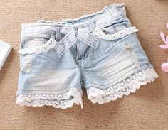 DIY: Scalloped Hem Lace Jean Shorts. Doing this to all my short shorts to make them longer, but not taking away attractiveness :) It's tough being tall with big thighs sometimes...