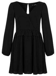 Petites Black Ruffle Dress - Miss Selfridge Petite Cocktail Dresses, V Neck Cocktail Dress, Petite Dresses, Black Ruffle Dress, Ruffle Sleeve Dress, V Neck Dress, Frilly Dresses, Miss Selfridge, Wrap Dress