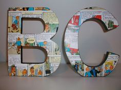 pinterest 365 day 320: altered letters, i used a tintin book we had a double copy of and they work perfectly in bens room as he ADORES tintin!  inspiration thanks to notbyamber at made it the australian handmade market :)