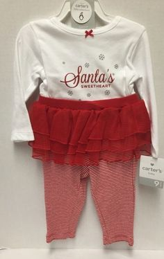 New Carters Baby Girl Outfit Santa's Sweetheart 2 Piece Size 9 Mon Red & White  #Carters #Holiday
