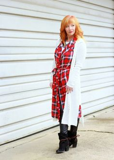 Fashion Fairy Dust style blog: plaid duster, faux leather leggings, long cardigan