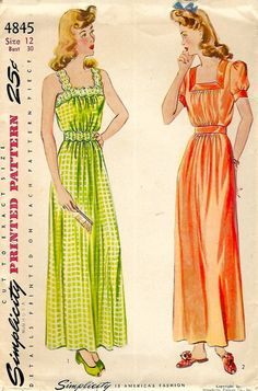 "Vintage 1940's Sewing Pattern WWII Nightgown Night Dress Straps Bust 30"" #Simplicity"