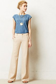 Pilcro Linen Wide-Legs #anthropologie - great for work in summer