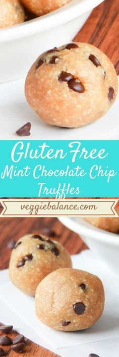 Mint Chocolate Chip Truffles. Gluten-Free, Vegan, and Paleo friendly. Packed with healthy protein and low-sugar.