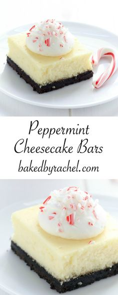 Creamy white chocolate peppermint cheesecake bar recipe from @bakedbyrachel