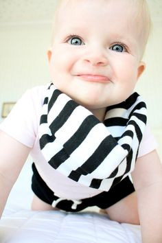 *Wishing I would have thought of this!**Baby Drool Scarf bib Black and White Striped Jersey by TheLovelyCo