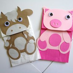 paper bag for kids - Paper puppets - Paper Farm Animal Crafts, Pig Crafts, Puppet Crafts, Farm Crafts, Preschool Crafts, Preschool Christmas, Christmas Crafts, Toddler Crafts, Toddler Activities