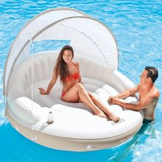 Inflatable Island Lounge with Canopy Lake Rafts, Pool Rafts, Inflatable Island, Inflatable Float, Pool Water Slide, Swimming Pool Water, Floating Canopy, Floating In Water, Party Raft