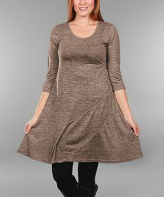 Mocha Stripe Shift Dress - Plus Too