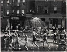 Old NY: Children around Sprinkler, Harlem, 1946 by Todd Webb.