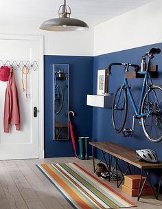 wood bike storage in wall mounted storage Home Interior, Interior Architecture, Garage Interior, Interior Rendering, Apartment Interior, Interior Paint, Wood Bike, Wooden Bicycle, Bicycle Decor