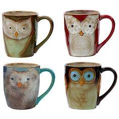 4-Piece Mug Set Night Owls Top Quality Mothers Day Gift Kitchen Drinkware New #Gibson