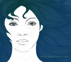 Portrait in blue.Lady of the Lakes. Drawing coloured in photoshop by Diane Hinson  www.facebook.com/foolmoondesigns