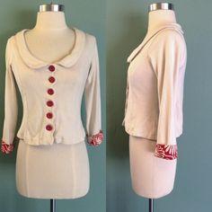 Anthropologie sparrow red cream button blazer XS Sweatshirt material light weight soft blazer by sparrow from Anthropologie Anthropologie Jackets & Coats Blazers