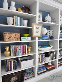 Extraordinary Ikea Bookshelves With Glass Doors: Home Office Ikea Billy Bookcases Unified With A Crown Moulding ~ moabc.net Bookshelves Inspiration