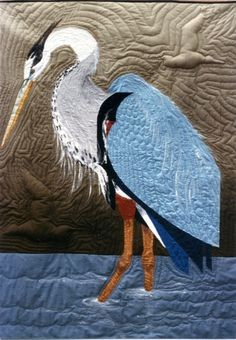 """""""Great Blue Heron"""" by Pat Dolan for Joyce Schlotzhauer's book on Curved Two-Patch quilting. It's on the back cover of the book.  ThisLife"""