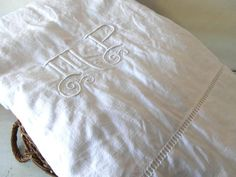 Queen metis linen sheet monogram sheet MP by vintagefrenchdream