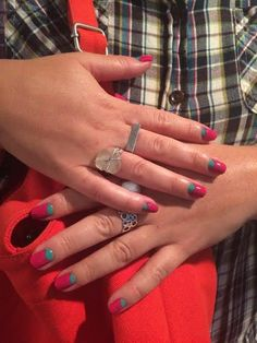 Bright turquoise and pink pair up for one vivid moon manicure #tenoverten | Sephora Beauty Board #nailart