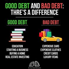 """Do you know the difference between """"good"""" and """"bad"""" If you are interested in or you will know. Let me know if you want to have more good or bad debt below 👇🏽 Business Coach, Business Money, Business Ideas, Entrepreneur Motivation, Business Motivation, Motivation Success, Investing Money, Real Estate Investing, Budgeting Finances"""