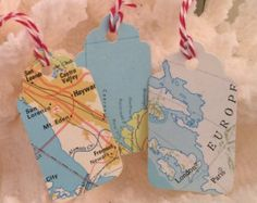 Set of 12 vintage map tags gift tags paper goods maps packaging mini map tag travel gift tag vintage tag handmade set of 10 gumiabroncs Image collections