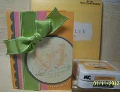 using Lucy paper pack x7149, A1120 quick cards-butterfly, colors: creme brulee and grey wool.