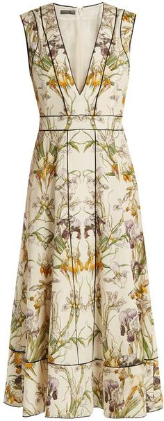 Shop for Wild Iris-print silk crepe de Chine midi dress by Alexander McQueen at ShopStyle. Now for $1,474.