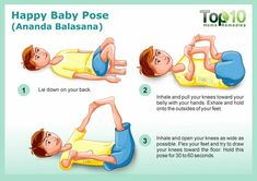 happy baby yoga pose - 10 Amazing Yoga Poses for Your Kids to Keep Them Fit and Healthy Happy Baby Pose Yoga, Baby Yoga Poses, Cool Yoga Poses, Pilates, Chico Yoga, Preschool Yoga, Reiki, Morning Yoga Flow, Top 10 Home Remedies