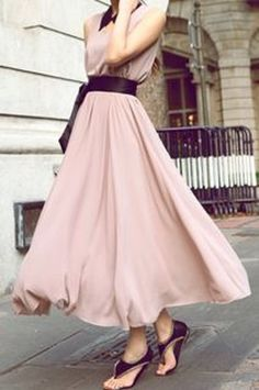 So Pretty! Elegant Pink and Black V-Neck Sleeveless Solid Color Bowknot Waisted Corset Chiffon Women's Dress #Elegant #Pink #Black #Summer #Dress #Fashion