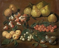 Bartolomeo Bimbi — Fruits: Pears, Apricots, Cherries and Plums. Giuseppe Arcimboldo, Large Canvas, Food Illustrations, Pears, Cherries, Painters, Still Life, Street Art, Flora