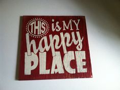 This is My HAPPY PLACE Hand painted, WELCOME Sign, Home decor 12 x 12 in. Wood Porch Sign. Leave a message with style & color choice.