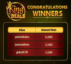 Congratulations to all the winners of KING OF DEALS OFFER!  https://www.classicrummy.com/king-of-deals-offer?link_name=CR-12
