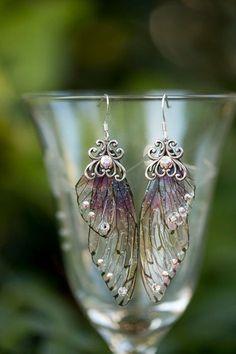 Sugar Plum Fairy Wing Silber Ohrringe von fairystitchfactory