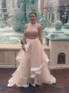 Buy Fashion Two-pieces Scoop Tulle Long Champagne Prom/Evening Dress With Beading Special Occasion Dresses under US$ 248.99 only in SimpleDress.