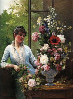 Edouard Bernard Debat-Ponsan (1847-1913) - Preparing the flower arrangement