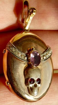 Antique 19th C Victorian goldpearls&ametyst Memento Mori Skull Locket Pendant