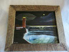 Lighthouse  Moon Seascape Large Wave 100 by StillwatersPaintings