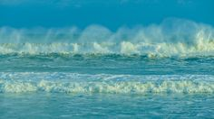 Picture of waves from Hurricane Maria with tops being blown off by strong north winds.  Taken at Third Street Beach, Emerald Isle, NC