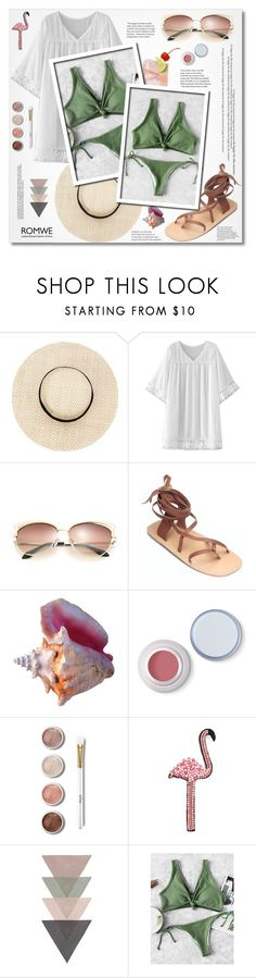 """""""Romwe-Knot Front Side Tie Bikini"""" by zulaltprk ❤ liked on Polyvore featuring H.I.P., WithChic, Terre Mère and Happy Embellishments"""