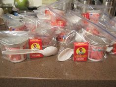 Trying to come up with snacks to please 24 Kindergarten students :) today I packed up ziptop bags with a yogurt cup, spoon and box of raisins. My son said everyone loved it - Yay!! :)