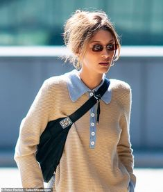 Represent: Bella was likely sporting a black studded fanny pack and a pair sunglasses most. The IMG Model's sighting came hours after she celebrated sister Gigi's birthday Bella Hadid Outfits, Bella Hadid Style, Look Fashion, Autumn Fashion, Fashion Outfits, Womens Fashion, 90s Fashion, Fashion Ideas, Classy Fashion