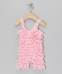 Take a look at this Overcash Pink Vintage Lace Romper - Infant & Toddler on zulily today!
